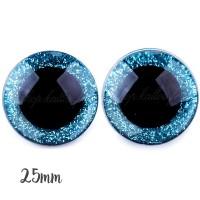 Yeux de sécurité pailleté bleu 25mm pour peluche, pupille ronde, rondelle emboitante  (1 paire)