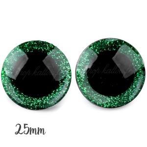 Yeux de sécurité pailleté vert 25mm pour peluche, pupille ronde, rondelle emboitante  (1 paire)