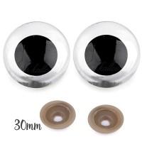 Yeux sécurité transparent 30mm pour peluche, pupille ronde (1 paire)