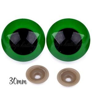 Yeux sécurité vert 30mm pour peluche, pupille ronde (1 paire)