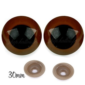 Yeux sécurité marron 30mm pour peluche, pupille ronde (1 paire)