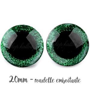 Yeux de sécurité pailleté vert 20mm pour peluche, pupille ronde, rondelle emboitante  (1 paire)