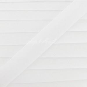 Biais coton blanc, pré-plié 20mm, col028