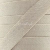 Biais coton beige dune, pré-plié 20mm, col029