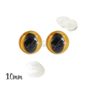 Yeux de chat sécurité orange clair 10mm pour peluche (2 paires)