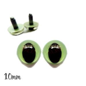 Yeux de chat sécurité vert sauge 10mm pour peluche (2 paires)