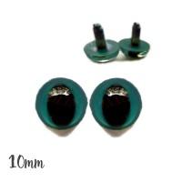 Yeux de chat sécurité bleu-vert foncé 10mm pour peluche (2 paires)