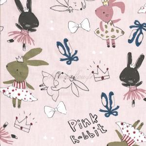 Tissu lapins danseuses sur fond rose pâle (x 50cm)
