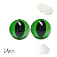 Yeux de chat sécurité vert 14mm pour peluche (2 paires)