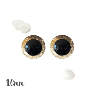 Yeux de sécurité brillants or 10mm pour peluche, pupille ronde (1 paire)