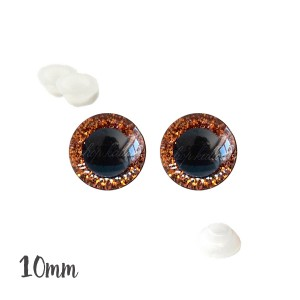 Yeux de sécurité brillants orange 10mm pour peluche, pupille ronde (1 paire)