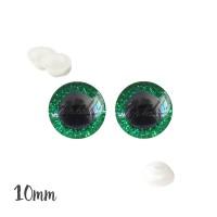 Yeux de sécurité brillants vert 10mm pour peluche, pupille ronde (1 paire)