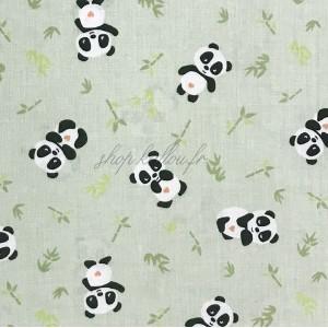 Tissu panda, coloris vert tendre (x 50cm)