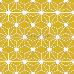 Tissu géométrique hexagone, coloris jaune moutarde (x 50cm)