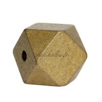 Perle géométrique en bois coloré doré or, à facettes, 20 mm (lot de 5)