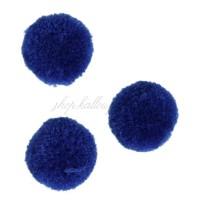 Pompons bleu roi, très doux, 20 mm (lot de 3 pièces)