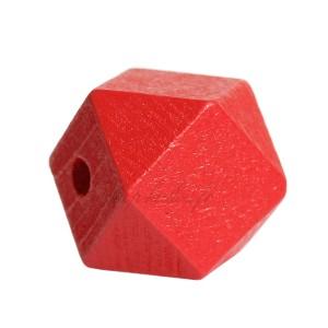 Perle géométrique en bois coloré rouge, à facettes, 20 mm (lot de 5)