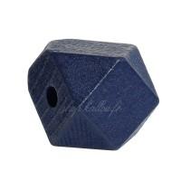 Perle géométrique en bois coloré bleu marine, à facettes, 20 mm (lot de 5)
