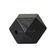 Perle géométrique en bois coloré noir, à facettes, 20 mm (lot de 5)