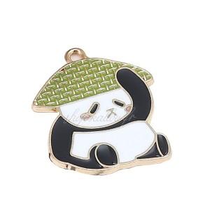 Pendentif panda kawaï mignon en métal émaillé