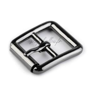 Boucle de ceinture métal carrée pour sac, coloris argent gunmetal, pour sangle 20 mm