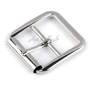 Boucle de ceinture métal carrée pour sac, coloris argent , pour sangle 25 mm