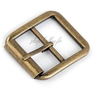 Boucle de ceinture métal carrée pour sac, coloris laiton ancien , pour sangle 25 mm