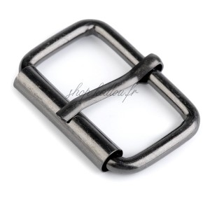 Boucle de ceinture métal carrée pour sac, coloris argent gunmetal, pour sangle 32 mm