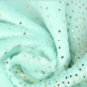 Tissu Minky doudou à paillette, coloris menthe, très doux