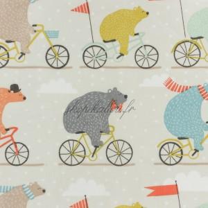 Tissu ours à vélo, coton enduit, collection Fryett's (x25cm)