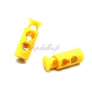 Arrêt de cordonnet, stop lacet, coloris jaune d'or (lot de 2)
