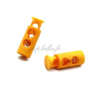 Arrêt de cordonnet, stop lacet, coloris orange pastel (lot de 2)