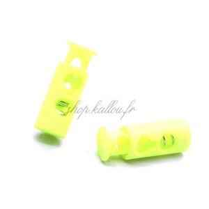 Arrêt de cordonnet, stop lacet, coloris jaune fluo (lot de 2)