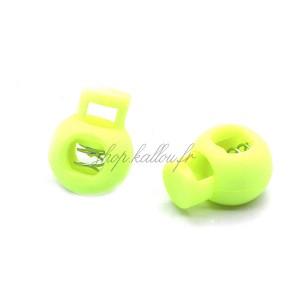 Arrêt de cordon 17x22mm, stop cordon, coloris vert/jaune fluo (lot de 2)