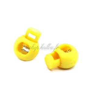 Arrêt de cordon 17x22mm, stop cordon, coloris jaune (lot de 2)