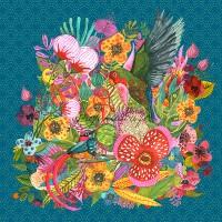 PRE-COMMANDE!!! Panneau tissu Minky oiseaux de paradis et fleurs exotiques, designer Les Moutons de Kallou 45 x 46 cm