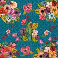 Panneau tissu velours d'ameublement oiseaux et fleurs exotiques, designer Les Moutons de Kallou 45 x 46 cm