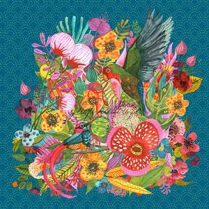 Panneau velours d'ameublement oiseaux de paradis et fleurs exotiques, designer Les Moutons de Kallou 45 x 46 cm