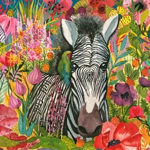 Panneau tissu carré, Zebre au coeur et son oiseau exotique, designer Les Moutons de Kallou 26 x 26 cm