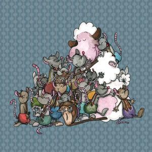Panneau tissu Montagne de câlins entre un mouton et ses amies Souris , designer Les Moutons de Kallou 40 x 40 cm