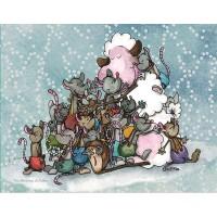 Panneau tissu, petit câlin de mouton et ses amies souris designer Les Moutons de Kallou 20 x 26 cm