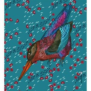 Panneau tissu oiseau exotique, fond bleu, designer Les Moutons de Kallou 19 x 20,5cm