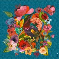 Panneau tissu velours d'ameublement colibri et fleurs exotiques, fond bleu, designer Les Moutons de Kallou 45 x 46 cm