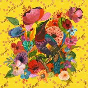 Panneau tissu velours d'ameublement colibri et fleurs exotiques, fond jaune, designer Les Moutons de Kallou 45 x 46 cm