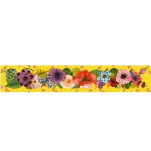 Panneau bandeau tissu velours d'ameublement bouquet fleurs exotiques, fond jaune, designer Les Moutons de Kallou 8 x 46 cm