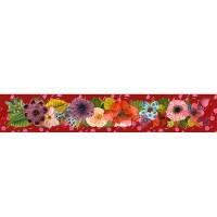 Panneau bandeau tissu velours d'ameublement bouquet fleurs exotiques, fond rouge, designer Les Moutons de Kallou 8 x 46 cm