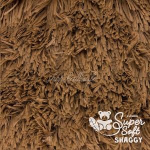 Tissu doudou Shaggy, coloris marron à poils longs