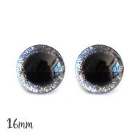 Yeux de sécurité brillants argenté 16mm pour peluche, pupille ronde, rondelle emboitante (1 paire)