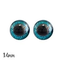 Yeux de sécurité pailleté bleu turquoise 14mm pour peluche, pupille ronde, rondelle emboitante(1 paire)