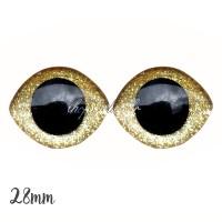 Grands Yeux sécurité ovales pailleté or clair 28mm pour peluche, pupille ronde (1 paire)